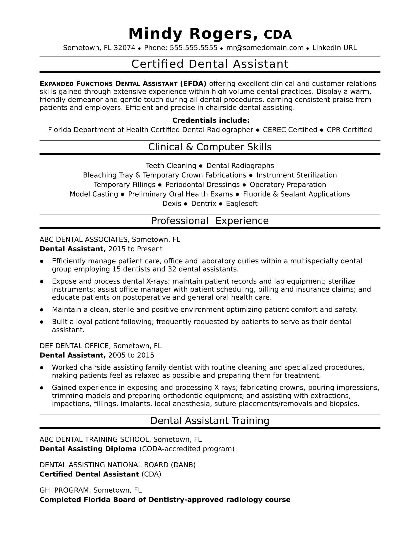 Dental assistant Resumes Template Dental assistant Resume Sample