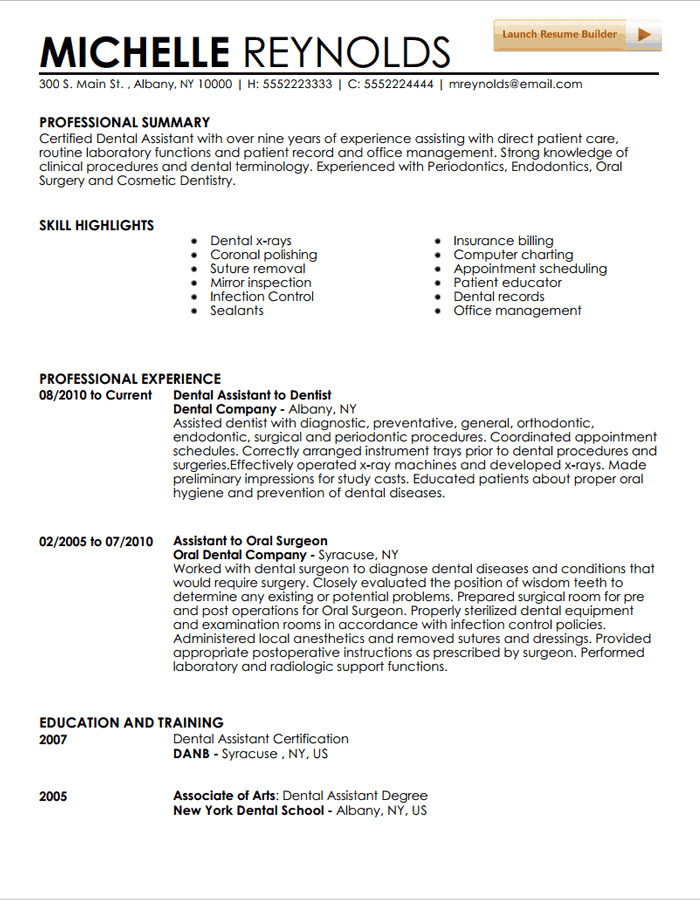 Dental assistant Resumes Template Dental assistant Resume Template