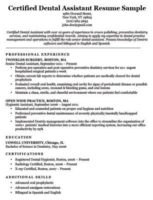 Dental assistant Resumes Template Dental Hygienist Resume Sample & Writing Tips
