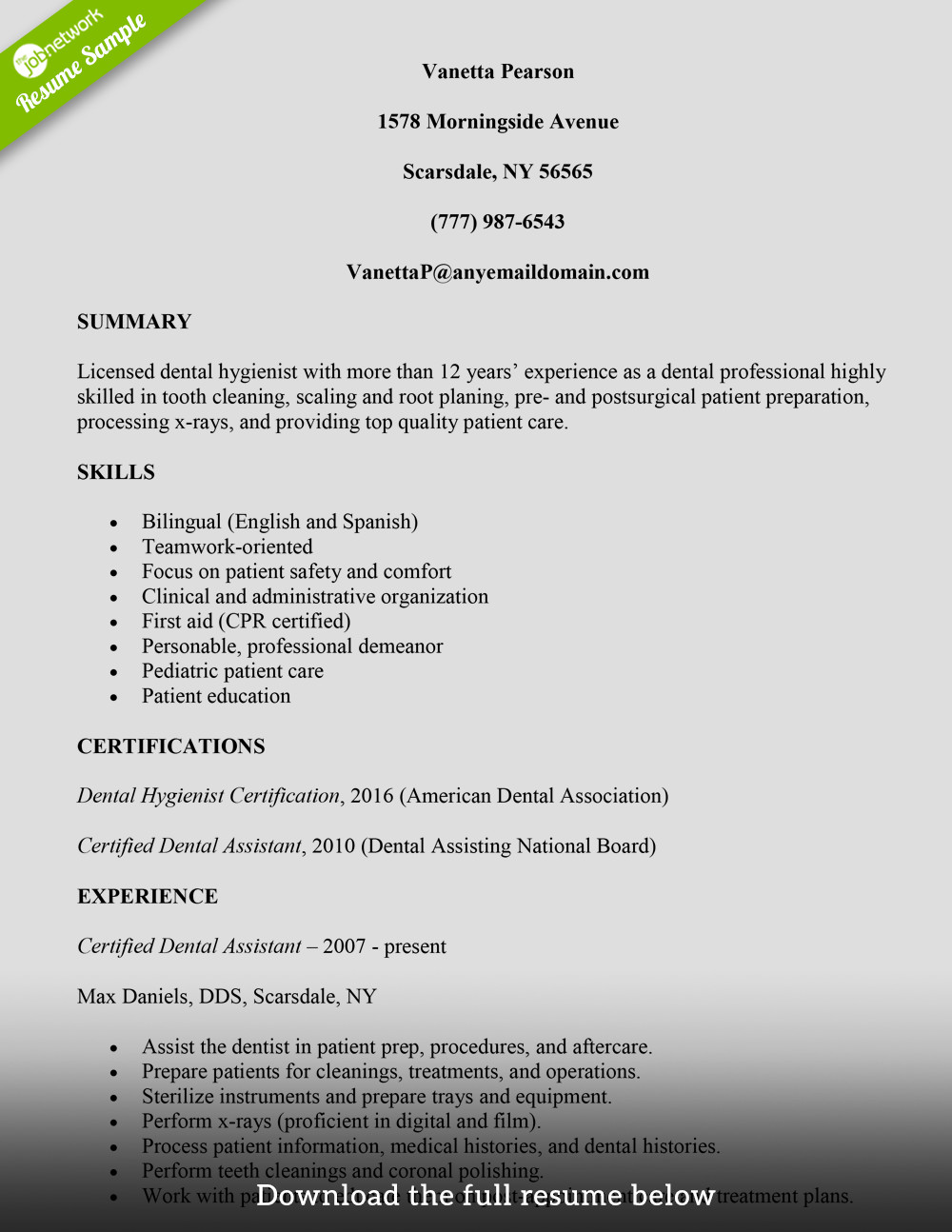 Dental assistant Resumes Template How to Build A Great Dental assistant Resume Examples
