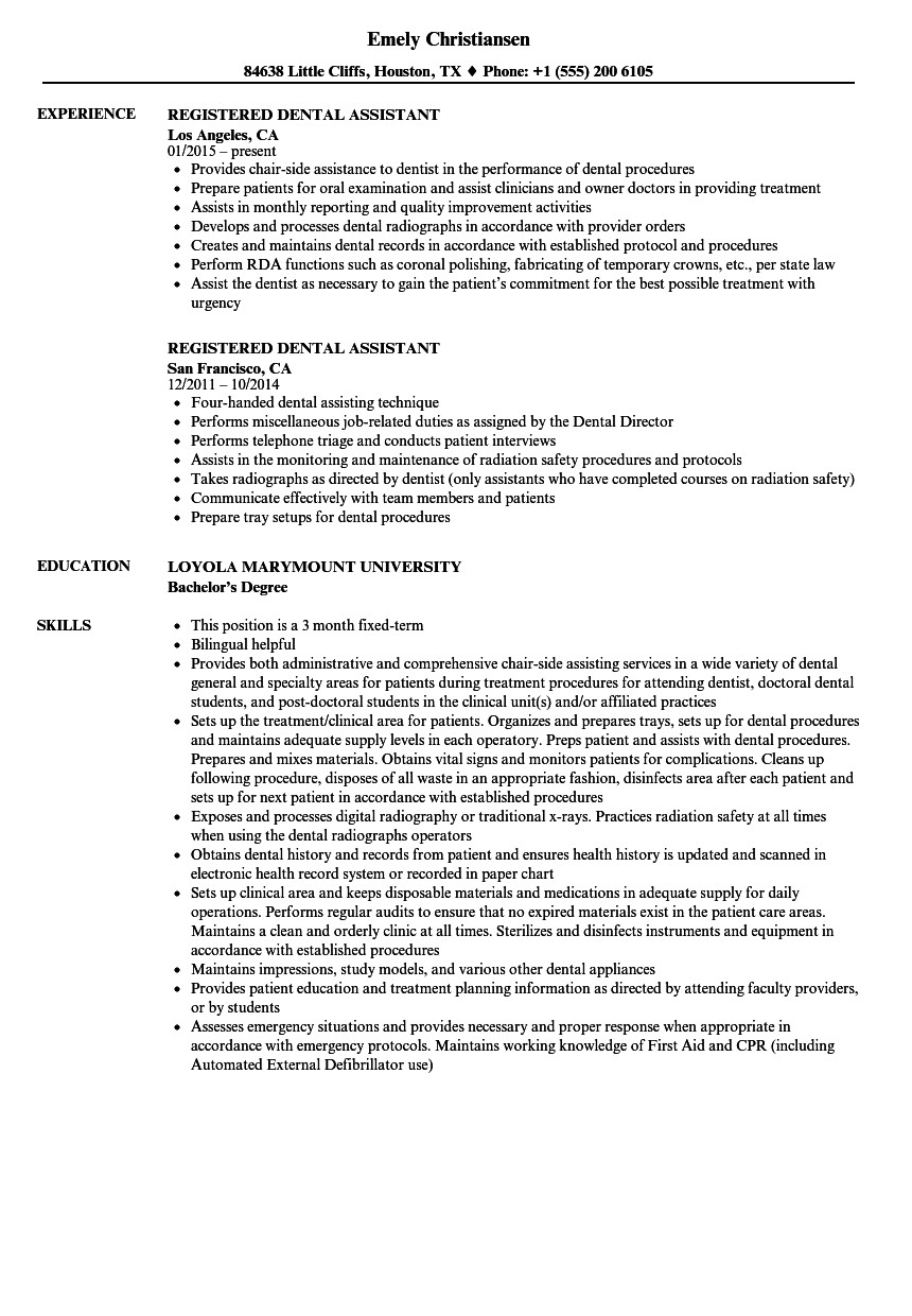 Dental assistant Resumes Template Registered Dental assistant Resume Samples