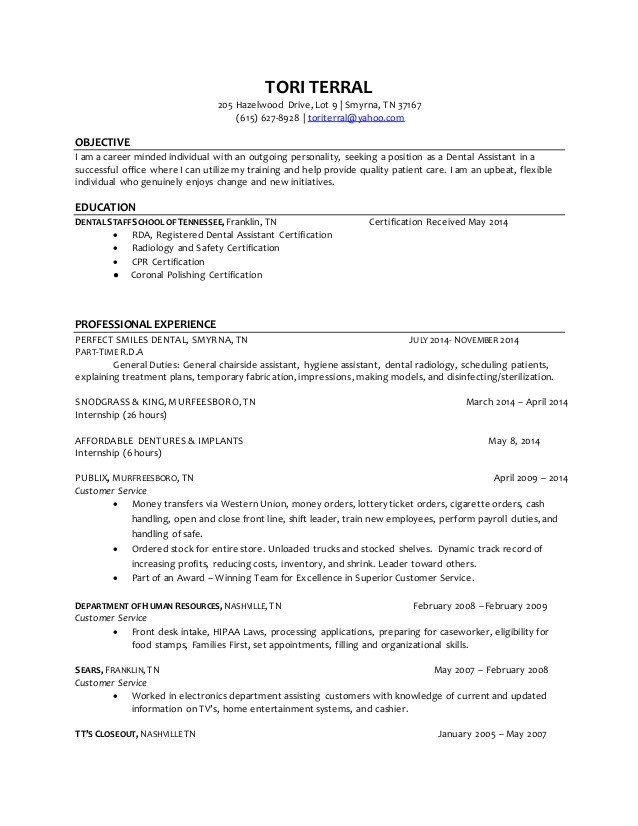Dental assistant Resumes Template tori Terral Dental assistant Resume 4