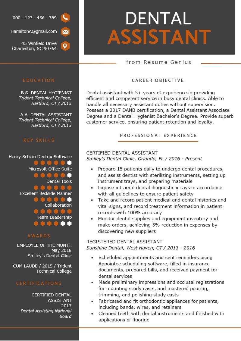 Dental assisting Resume Templates Dental assistant Resume Sample & Tips