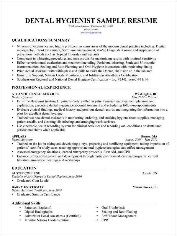 Dental assisting Resume Templates Dental assistant Resume Template 7 Free Word Excel