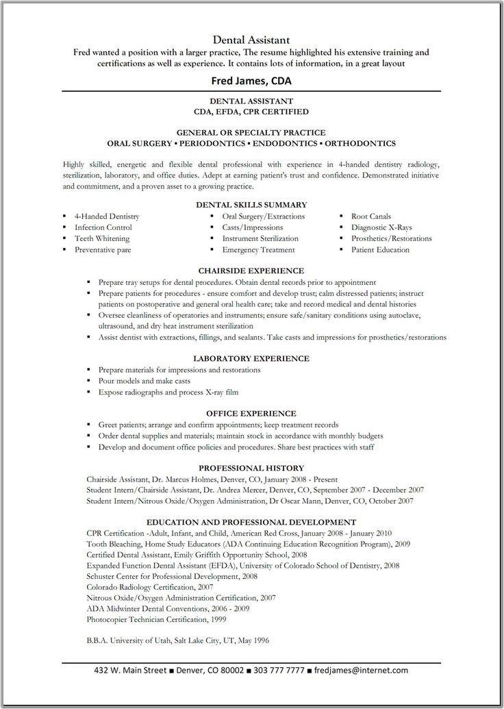 Dental assisting Resume Templates Dental assistant Resume Template