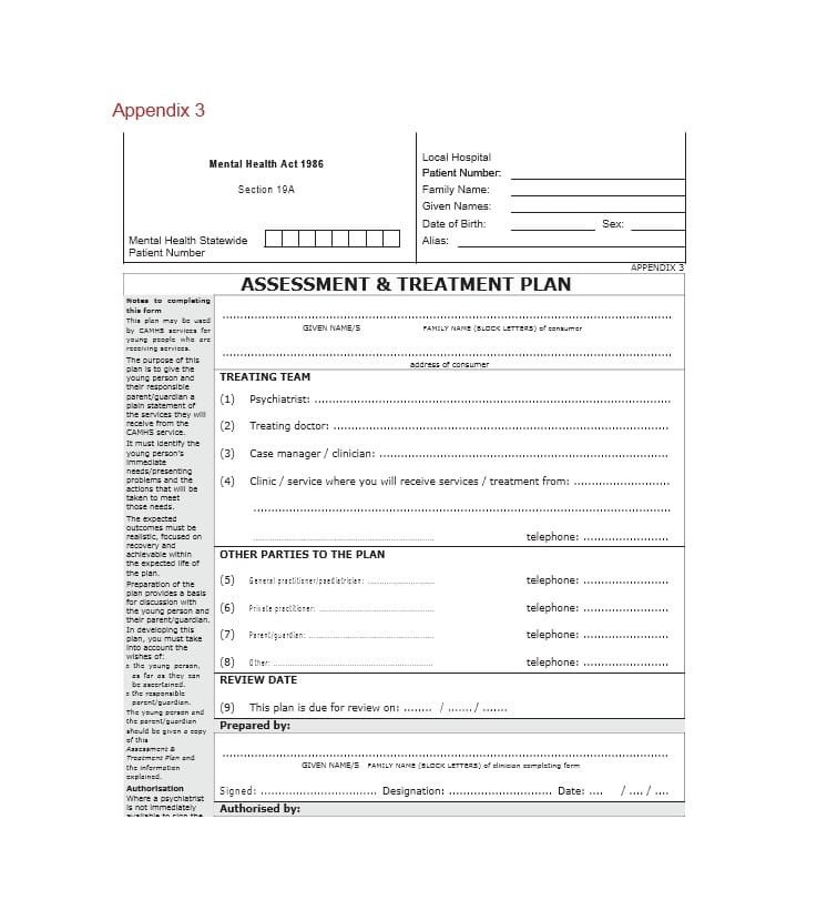 Dental Treatment Plan Template 35 Treatment Plan Templates Mental Dental Chiropractic