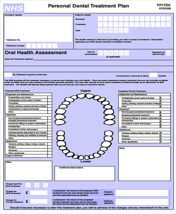 Dental Treatment Plan Template 9 Treatment Plan Samples & Templates In Pdf Doc