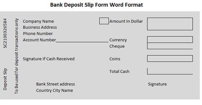 Deposit Slip Template Word Bank Deposit Slip form Word format