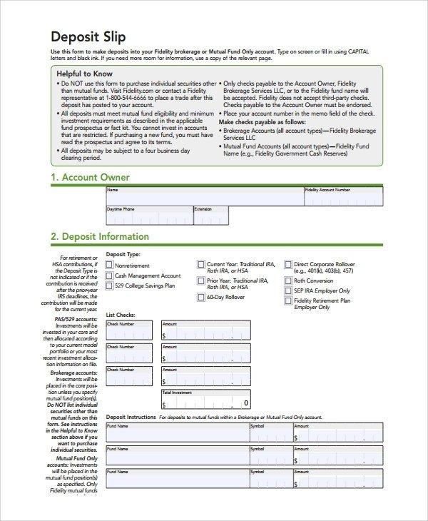 Deposit Slip Template Word Sample Deposit Slip Template 8 Free Documents Download