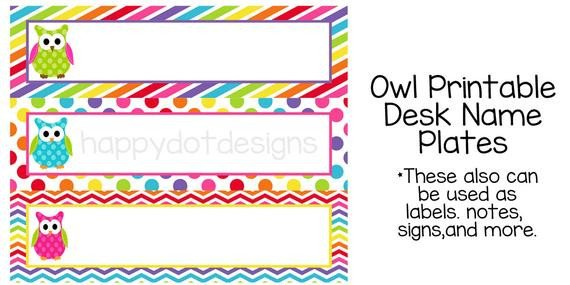 Desk Name Plate Template Items Similar to Printable Rainbow Owl Desk Name Plates