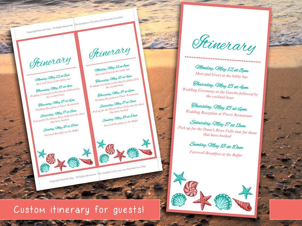 Destination Wedding Itinerary Template Beach Wedding Itinerary Template Wedding Planner Coral