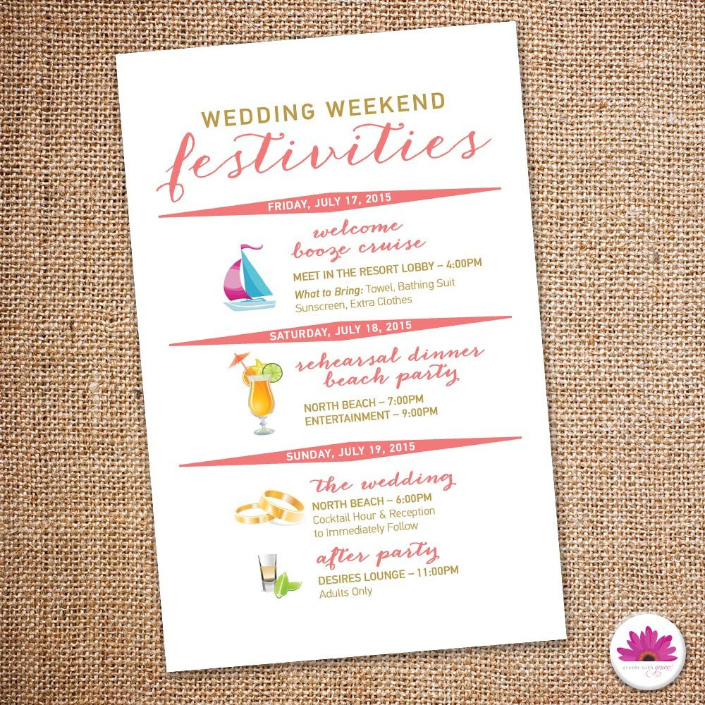 Destination Wedding Itinerary Template Destination Wedding Weekend Itinerary Beach Wedding Day Time