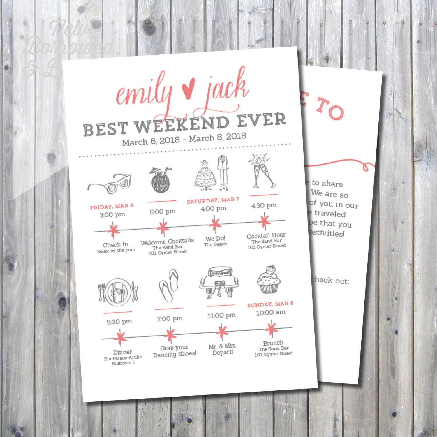 Destination Wedding Itinerary Template Printable Destination Wedding Icon Itinerary with Wel E