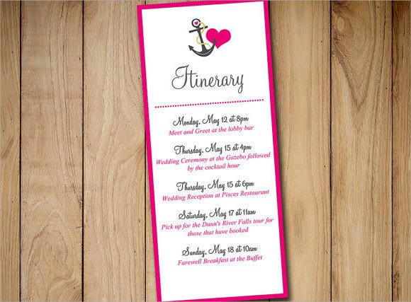 Destination Wedding Itinerary Template Sample event Itinerary Template 9 Dcouments Download In
