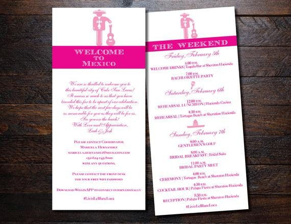 Destination Wedding Itinerary Template Wedding Itinerary Destination Wedding Itinerary Mexico