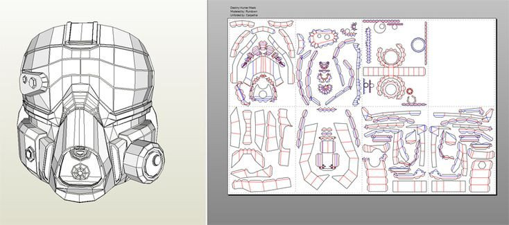 Destiny Hunter Armor Template Destiny Pepakura Files within