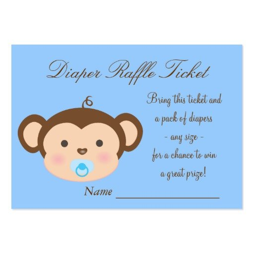 Diaper Raffle Ticket Template Blue Monkey Diaper Raffle Tickets Business Card Template