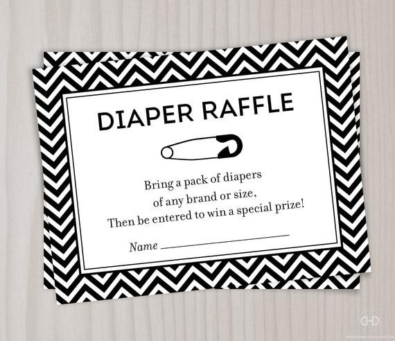 Diaper Raffle Ticket Template Chevron Diaper Raffle Ticket Black and White Baby Shower