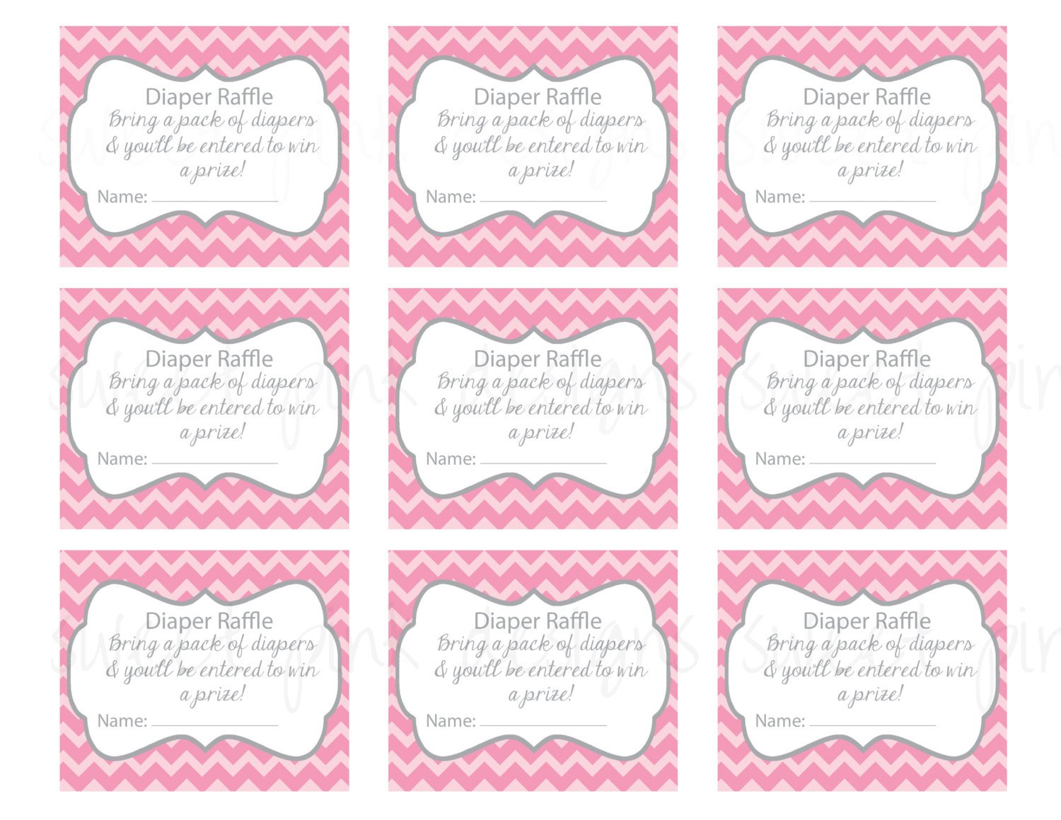 Diaper Raffle Ticket Template Diaper Raffle Ticket Grey and Pink Chevron