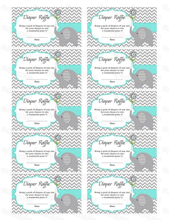 Diaper Raffle Ticket Template Elephant Baby Shower Diaper Raffle Ticket Diaper Raffle Card