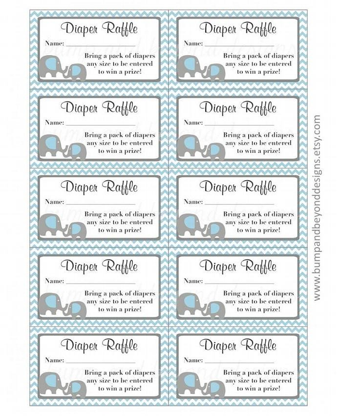 Diaper Raffle Ticket Template Elephant Diaper Raffle Tickets