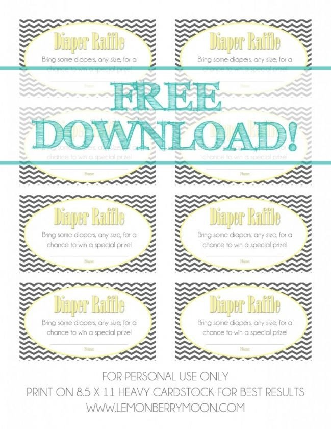 Diaper Raffle Ticket Template Free Download Baby Shower Diaper Raffle Tickets