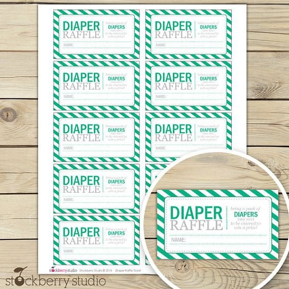Diaper Raffle Ticket Template Free Printable Diaper Raffle Tickets for Baby Shower