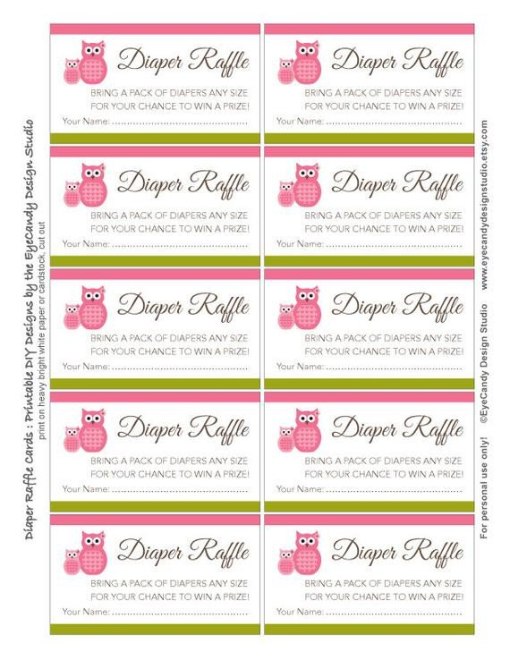 Diaper Raffle Ticket Template Items Similar to Printable Owl Diaper Raffle Tickets