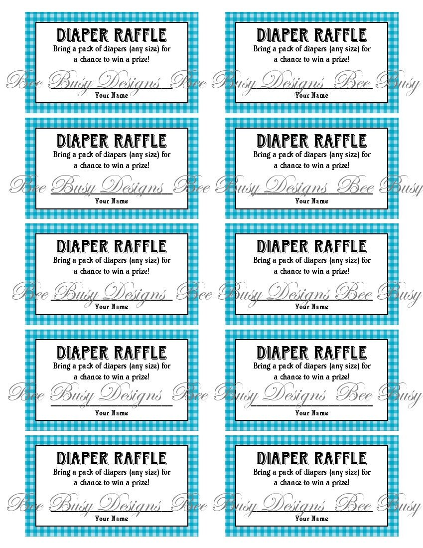 Diaper Raffle Ticket Template Printable Blue Gingham Diaper Raffle Tickets Great for