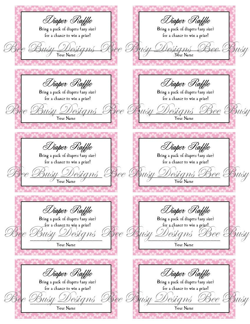 Diaper Raffle Ticket Template Printable Pink Flower Diaper Raffle Tickets Great for Baby