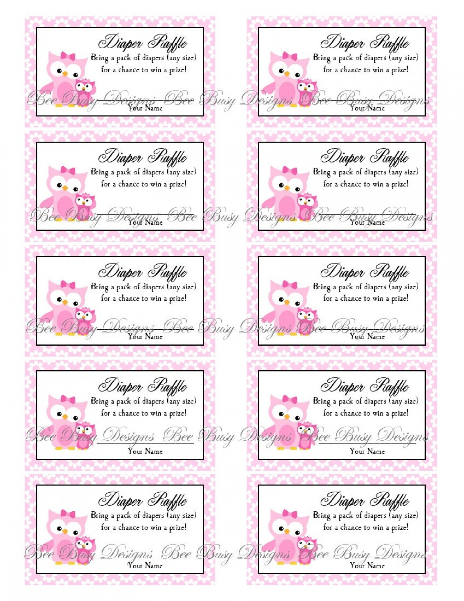 Diaper Raffle Ticket Template Printable Pink Mom with Little Girl Owl Diaper Raffle