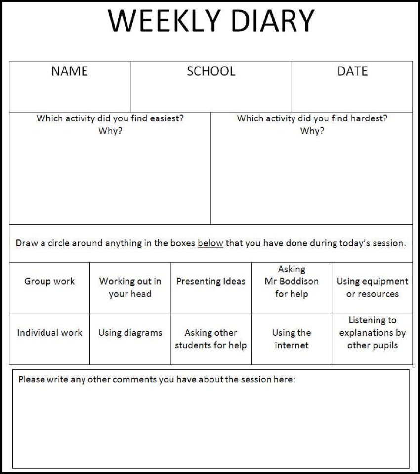 Diary Entry Template for Students Children S Weekly Diary Template