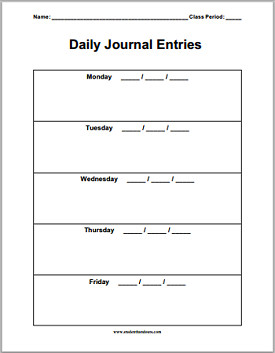 Diary Entry Template for Students Daily Journal Sheets