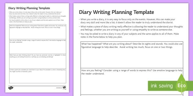 Diary Entry Template for Students Gcse Diary Planning All Subjects Worksheet Worksheet