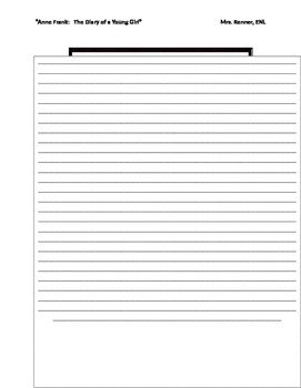 Diary Entry Template for Students Ir Diary Of Anne Frank Student Diary Template by Renner