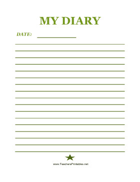Diary Entry Template for Students Kids Diary Page