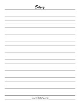 Diary Entry Template for Students Print Out This Lined Diary Paper to Record Your thoughts