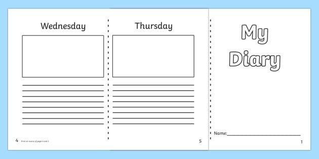 Diary Entry Template Word 7 Day Diary Writing Frame Esl Diary Writing Resources