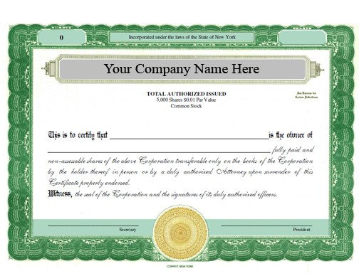 Digital Corporate Seal Template Electronic Digital Stock Certificate with Additional Options