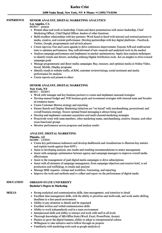 Digital Marketing Resume Sample Analyst Digital Marketing Resume Samples