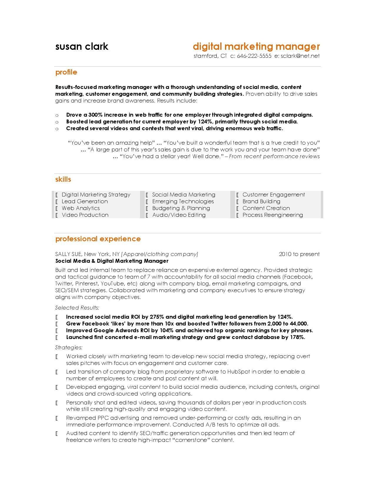 Digital Marketing Resume Sample Best Marketing Resumes