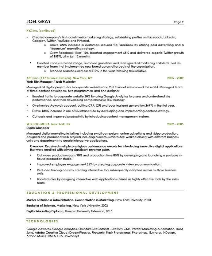 Digital Marketing Resume Sample Digital Marketing Manager Free Resume Samples