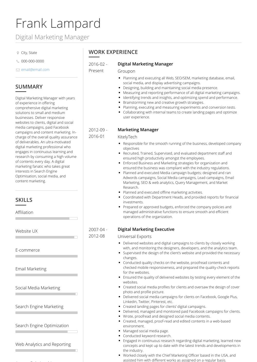 Digital Marketing Resume Sample Digital Marketing Manager Resume Samples & Templates