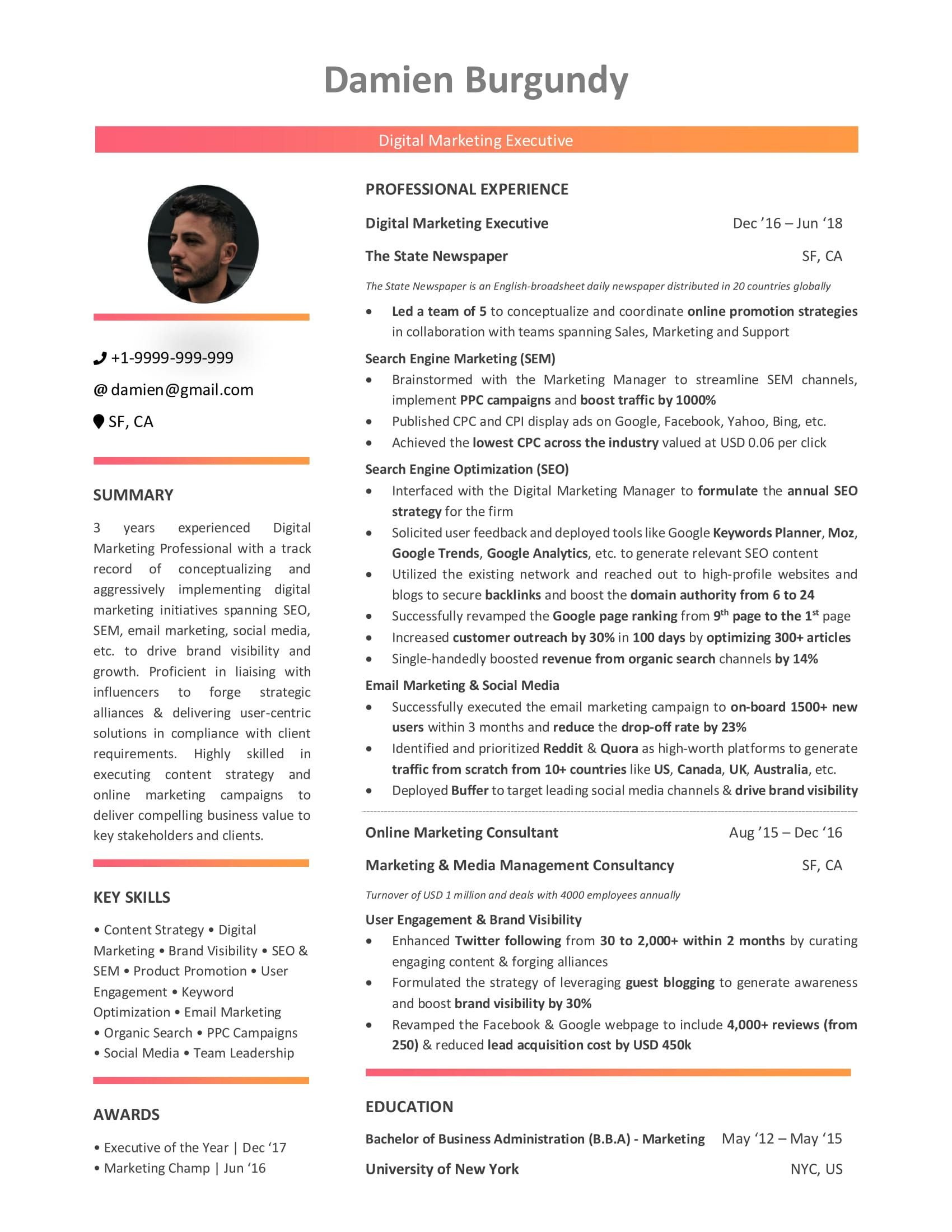 Digital Marketing Resume Sample Digital Marketing Resume 10 Step Beginner S Guide [with