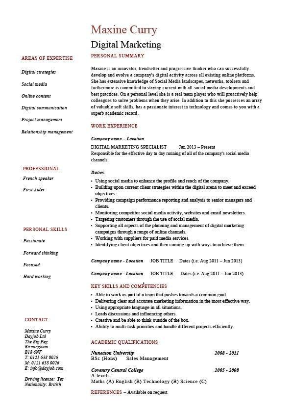 Digital Marketing Resume Sample Digital Marketing Resume Internet Example Sample Web