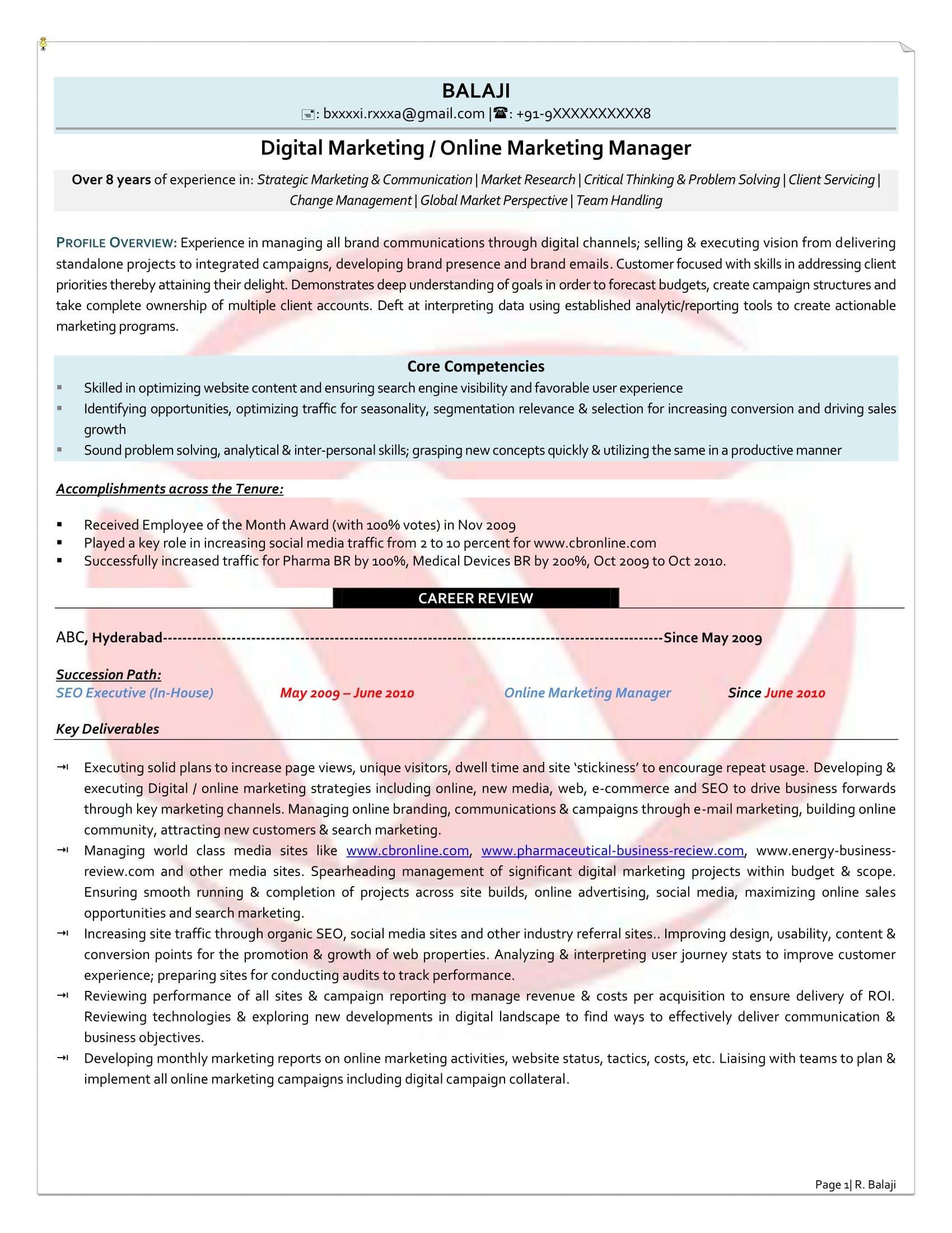 Digital Marketing Resume Sample Digital Marketing Sample Resumes Download Resume format