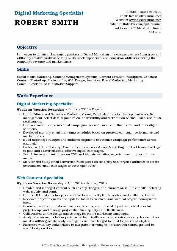 Digital Marketing Resume Sample Digital Marketing Specialist Resume Samples