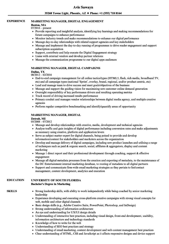 Digital Marketing Resume Sample Marketing Manager Digital Resume Samples