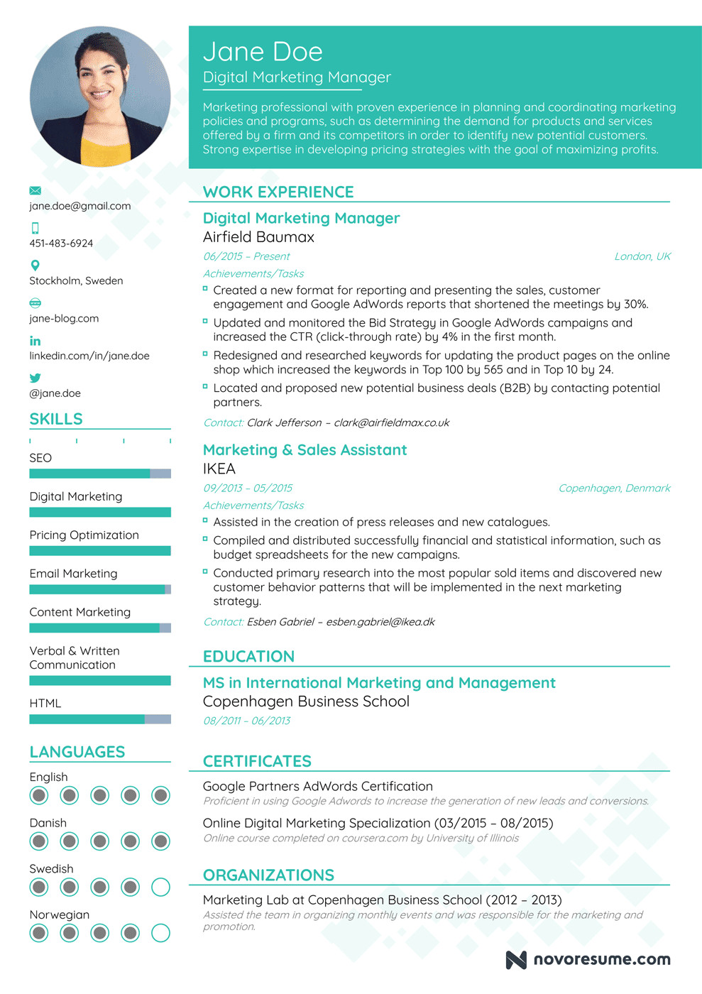 Digital Marketing Resume Sample Marketing Manager Resume Example Update Yours now for 2019