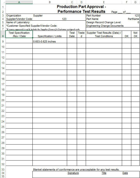 Dimensional Inspection Report Template 13 Of Ppap Psw Template